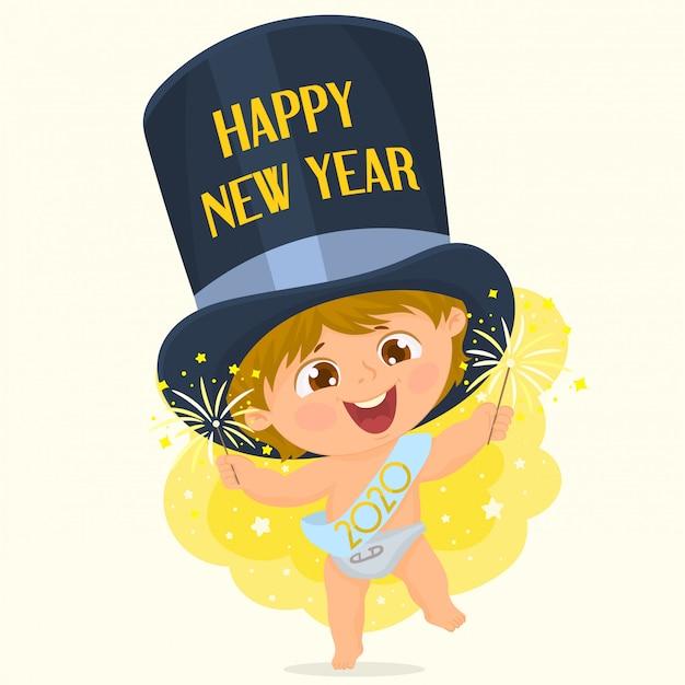 Célébrer la nouvelle année avec un bâton de feu d'artifice