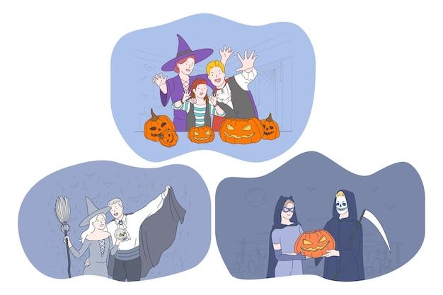 Célébrer les vacances d'halloween dans le concept de costumes fantasmagoriques. personnages de dessins animés de jeunes gens positifs