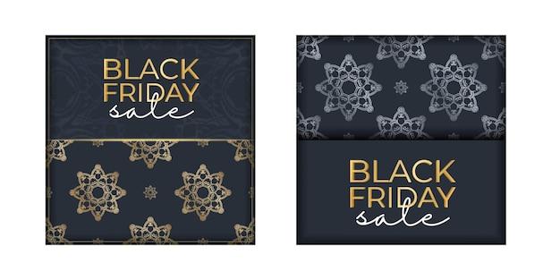 Célébrer la vente d'affiches vendredi noir bleu foncé avec motif doré grec