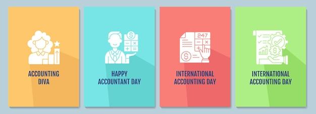 Célébrez les cartes de vœux du jour de la comptabilité avec l'ensemble d'éléments d'icônes de glyphe. conception de vecteur de carte postale simple créatif. invitation décorative avec une illustration minimale. bannière créative avec texte de célébration