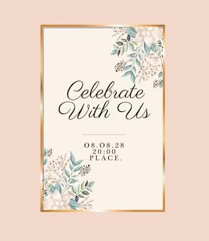 Célébrez avec nous avec des fleurs et des feuilles dans un cadre doré