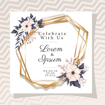 Célébrez avec nous le texte dans un cadre doré avec des fleurs et des feuilles