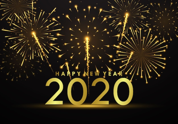 Célébrez le nouvel an après une belle fête de feu d'artifice.