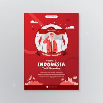 Célébrez la sumpah pemuda ou la journée d'engagement des jeunes sur le concept de l'affiche