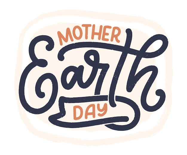 Célébrez la terre mère. slogan de calligraphie manuscrite