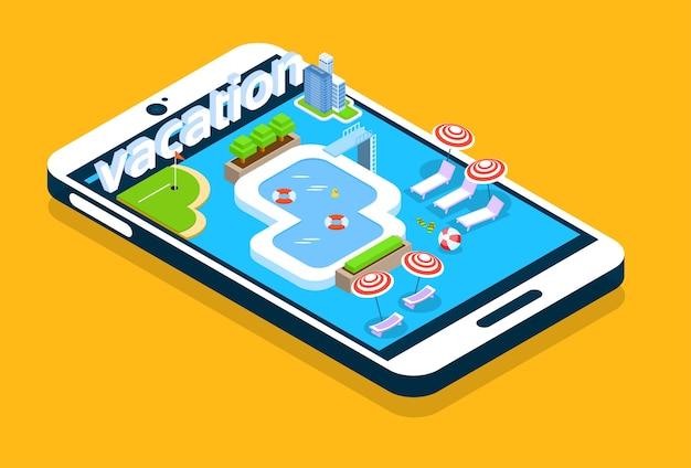Cellier moderne écran de téléphone intelligent piscine