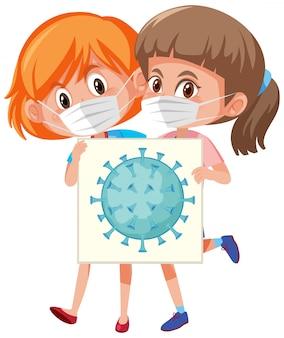 Cellule de coronavirus à bord avec deux filles portant un masque