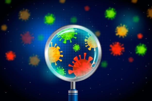 Cellule de coronavirus réaliste regarde à travers une loupe - fond