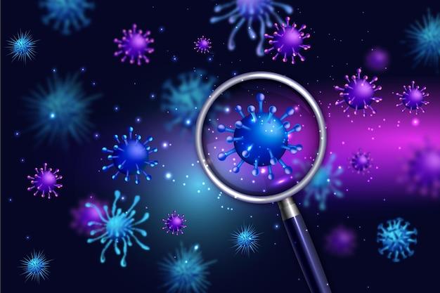 Cellule de coronavirus regarde à travers un fond de loupe