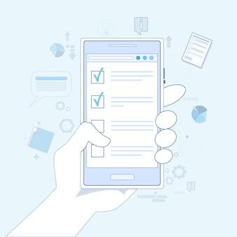 Cellule mobile téléphone intelligent appel main tenir la liste de contrôle thin line vector illustration