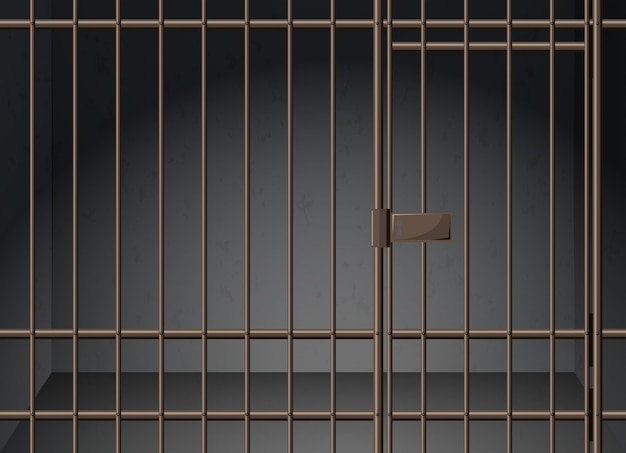 Cellule de prison avec illustration de barres métalliques