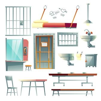 Cellule de prison, mobilier de salle à manger et salle de visite de prison, dessin animé d'éléments de design d'intérieur