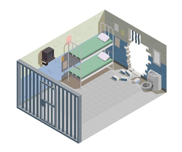 Cellule de prison vide pour deux détenus avec mur cassé et échappés criminels emprisonnés illustration composition isométrique