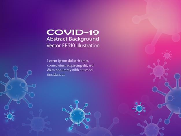 Cellules de coronavirus 3d avec modèle de texte informatif