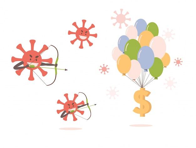 Les cellules de coronavirus attaquent le signe dollar. l'épidémie de covid-19 affecte le concept de plat mondial.