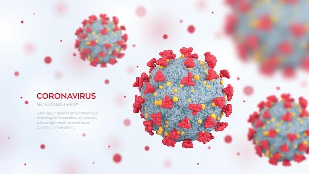 Cellules du coronavirus covid19 maladie dangereuse d'infection par le virus corona sous microscope vue microscopique des cellules virales en gros plan pandémie du sras et risque de contagion