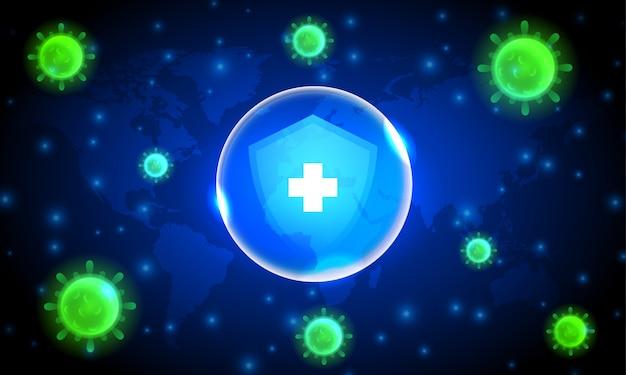 Cellules du virus corona avec bouclier de protection sur fond bleu foncé