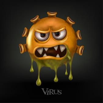 Les cellules du virus covid-19 ou le virus corona et les bactéries se bouchent isolé sur fond noir.