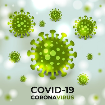 Cellules virales de coronavirus fond vert.