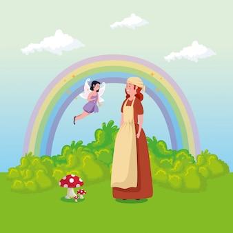 Cendrillon avec fée volant dans la scène de conte de fées