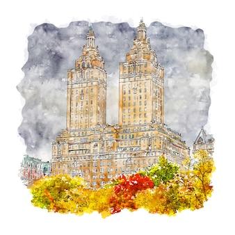 Central park new york aquarelle croquis illustration dessinée à la main