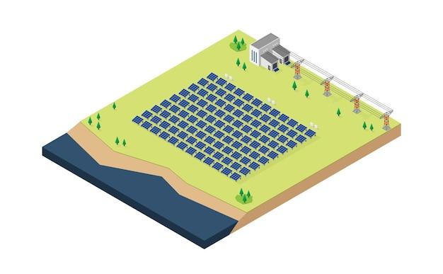 Centrale électrique à cellules solaires en vue isométrique