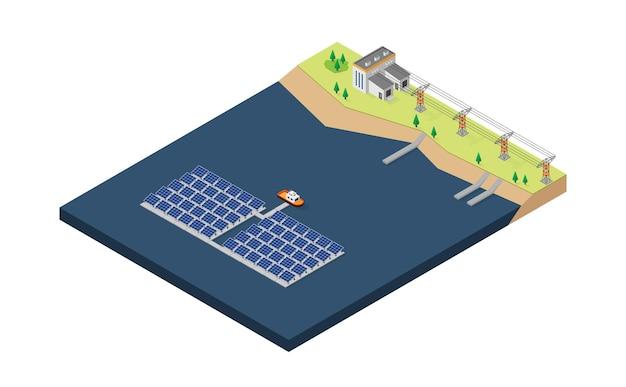 Centrale électrique flottante à énergie de cellule solaire en vue isométrique