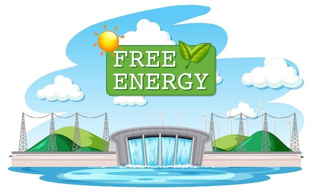 Les centrales hydroélectriques produisent de l'électricité avec une bannière d'énergie gratuite