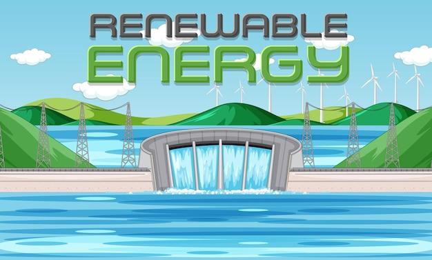 Les centrales hydroélectriques produisent de l'électricité avec une bannière de renouvellement