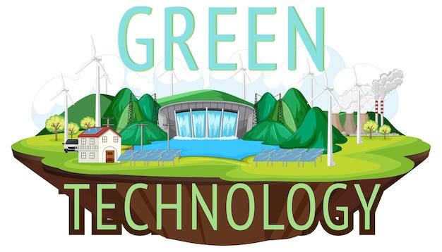 Les centrales hydroélectriques produisent de l'électricité avec une bannière verte gratuite