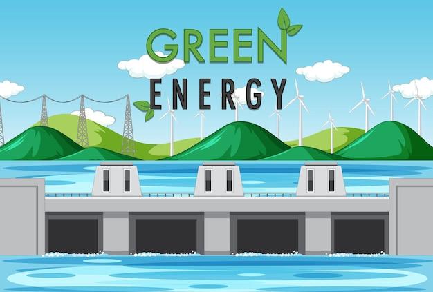 Les centrales hydroélectriques produisent de l'électricité avec une bannière verte