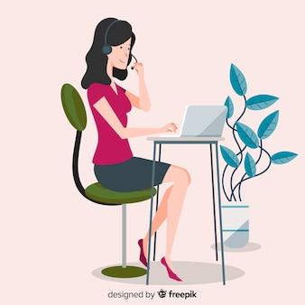 Centre d'appel femme