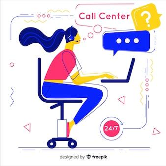 Centre d'appels créatif dans un style plat