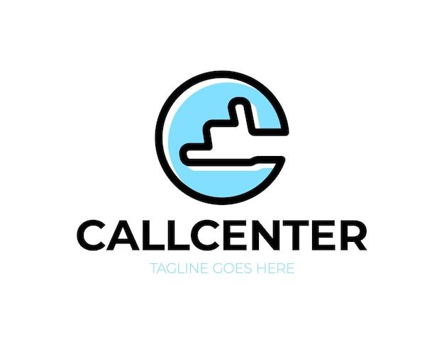 Centre D'appels Lettre C Avec Logo De Téléphone à Main Vecteur Premium