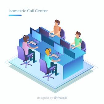 Centre d'appels moderne au design isométrique