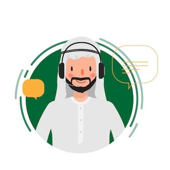 Centre d'appels, personnage de personnes musulmanes ou arabes, graphique d'animation de scène.