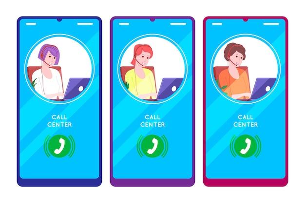 Centre d'appels, service client, concept de support et d'assistance. appel à l'opératrice de la hotline avec casques et ordinateur portable. concept de télémarketing et de consultation. illustration vectorielle de dessin animé.