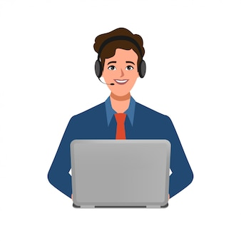 Centre d'appels ou service client du personnage d'homme d'affaires pose avec un téléphone portable et un casque.