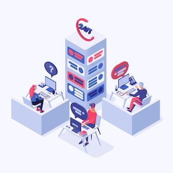 Centre d'appels, support en ligne, opérateurs de hotline, gestionnaires de consultants, personnages 3d