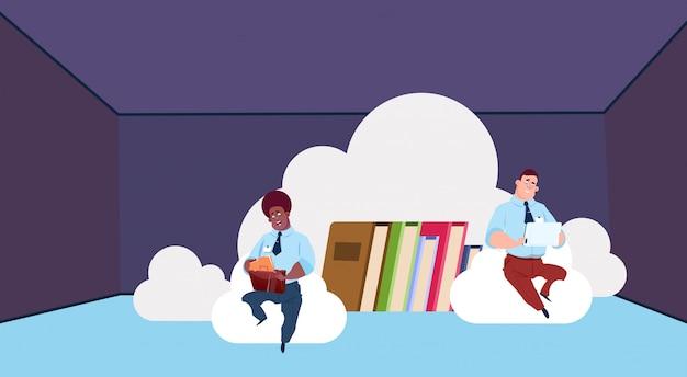 Centre de cloud de synchronisation de stockage de données avec des livres et du personnel. réseau de technologie informatique et support de communication du centre internet de base de données