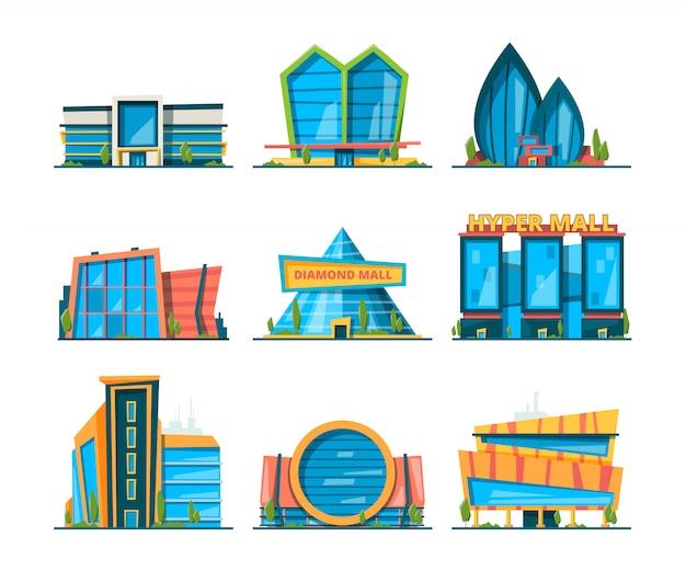 Centre commercial . grande collection de maisons de magasinage hypermarché bâtiments urbains