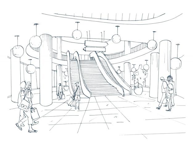 Centre commercial intérieur moderne