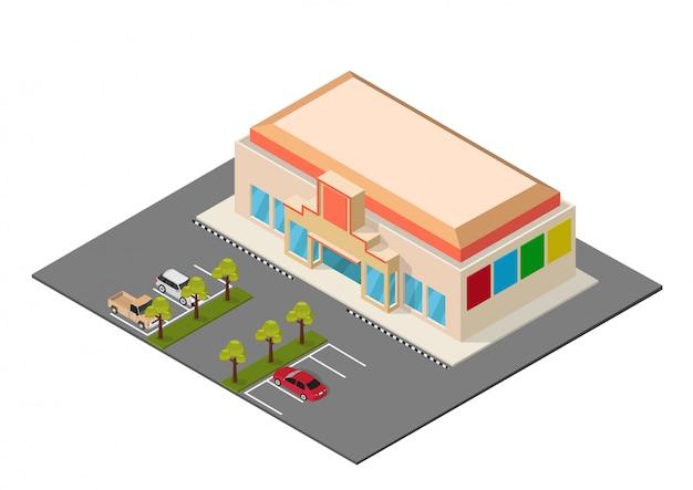 Centre commercial isométrique de vecteur