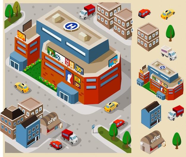 Centre commercial ou plaza dans le centre-ville