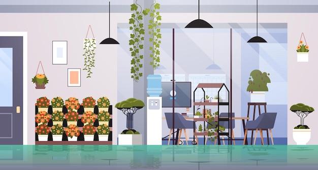 Centre de coworking avec des plantes en pot et des fleurs sur des étagères concept de jardinage office interior horizontal vector illustration