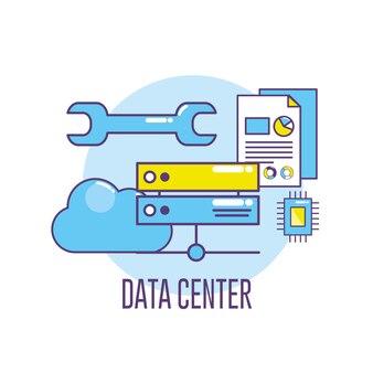 Centre de données de la bannière technologique connectant