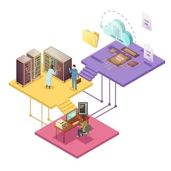 Centre de données avec employés et dossier de micropuce de stockage en nuage d'infrastructure de serveur de service de sécurité