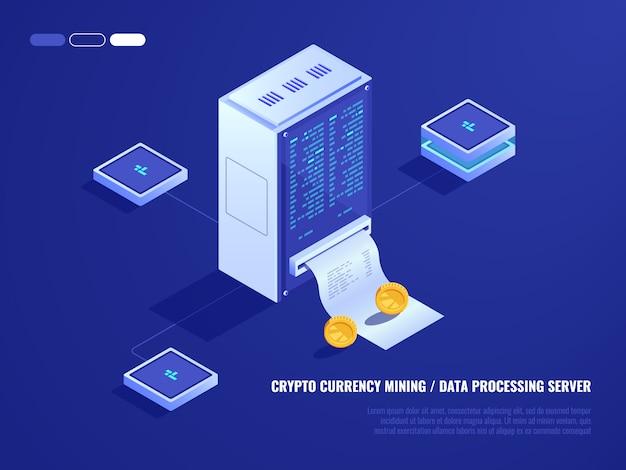 Centre de données, extraction du matériel de monnaie cryptographique, salle des serveurs, pièce de monnaie