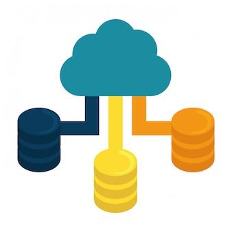 Centre de données d'hébergement cloud bleu