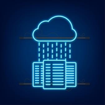 Centre de données. icône néon. bannière de concept de service mainframe, rack de serveur. salle des serveurs. illustration vectorielle.